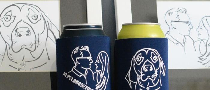 Blue DIY koozies with DIY white drawings