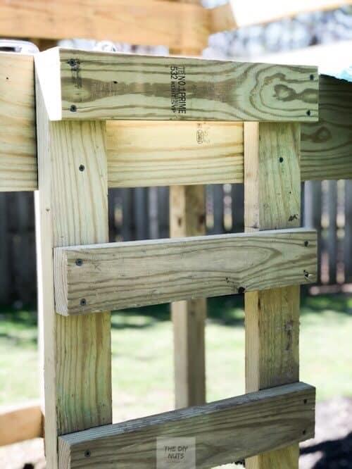 DIY wooden ladder on playground