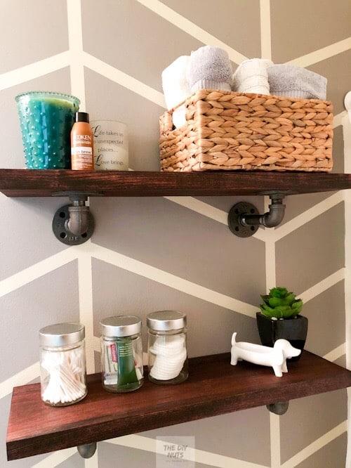 DIY Bathroom shelving decor idea
