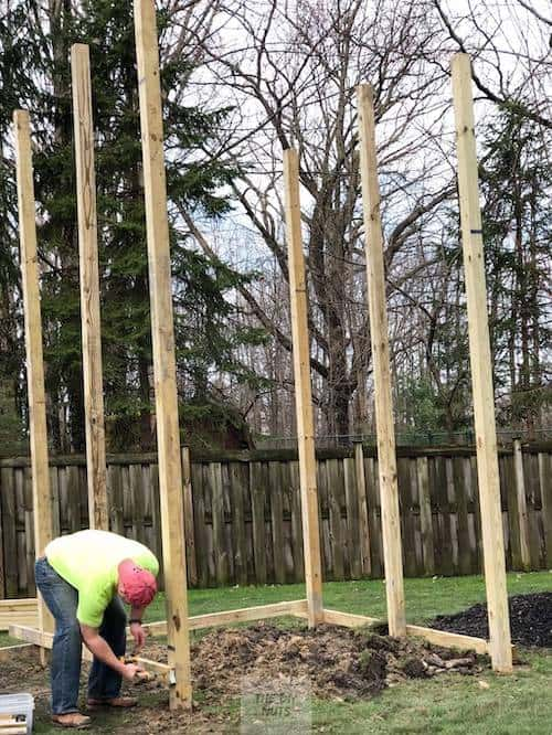 Posts set for wooden playset