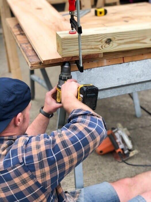 Attach posts to cedar in DIY raised planter boxes