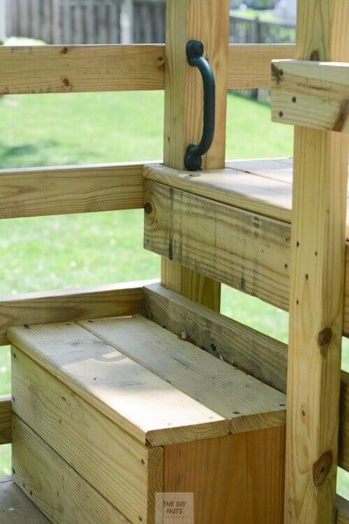 DIY wooden step in swingset