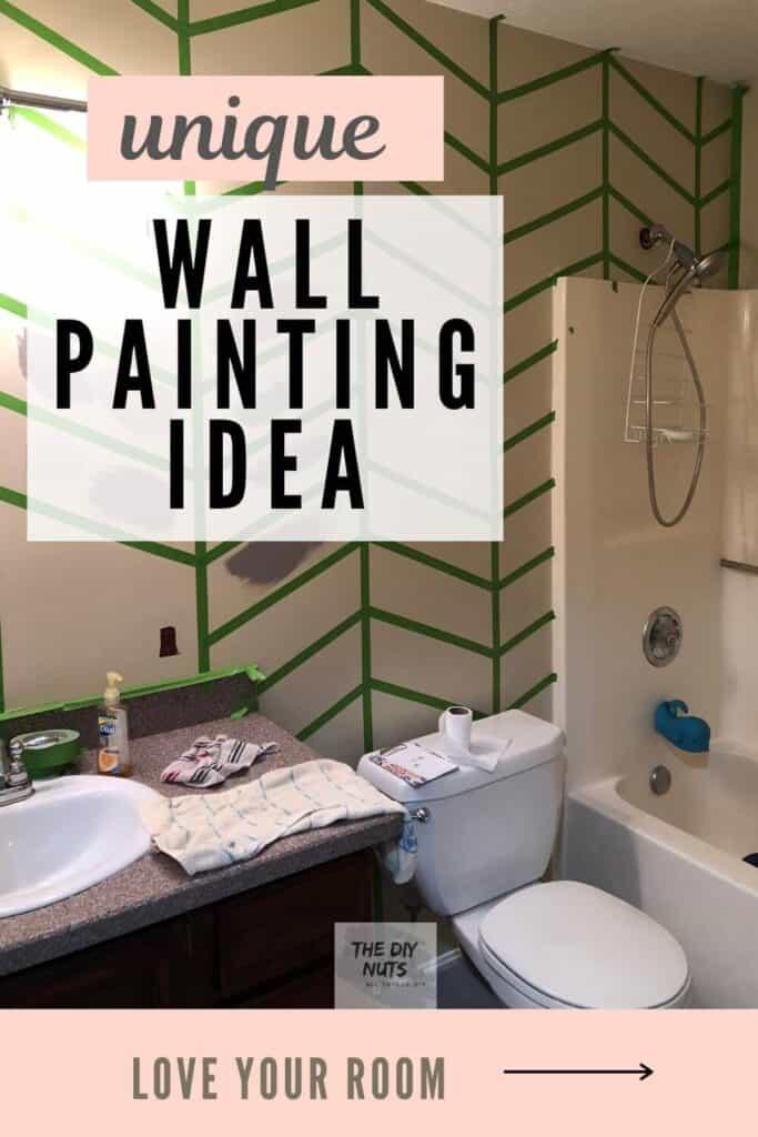Unique wall painting idea DIY herringbone design