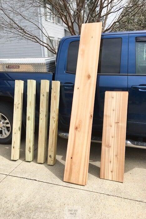 Wood used to make raised planter box