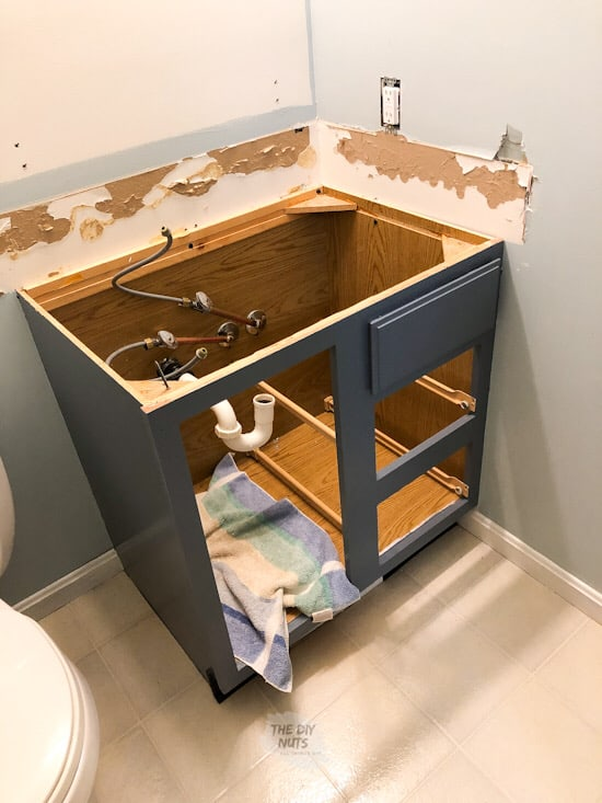 Bathroom vanity cabinet without sink