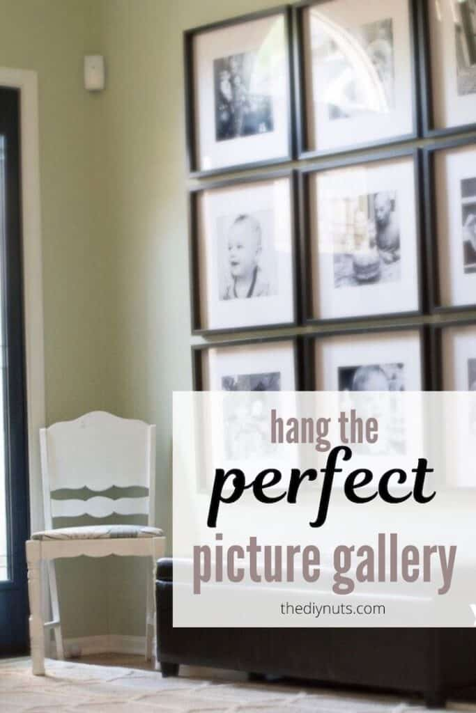 hang the perfect picture gallery text in front of black square frames on wall
