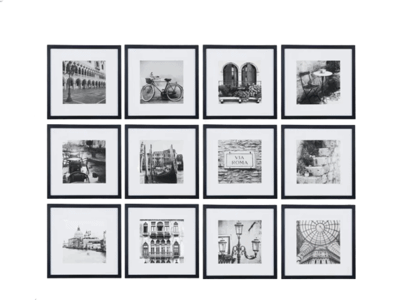 "12pc 12"" x 12"" Black Frame Kit, Matted To 7.5"" x 7.5"" - Gallery Perfect"