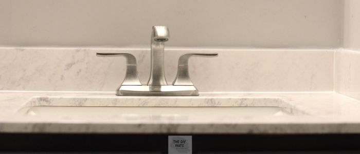 Bathroom faucet after easy bathroom makeover