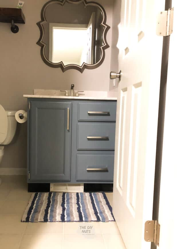 Bathroom Makeover with gray painted vanity