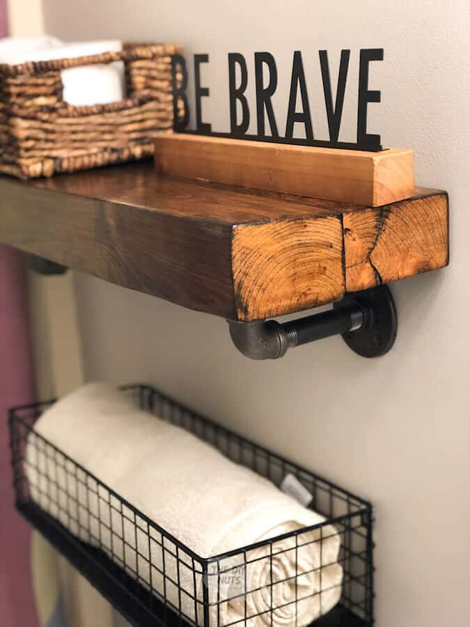 DIY rustic bathroom shelf