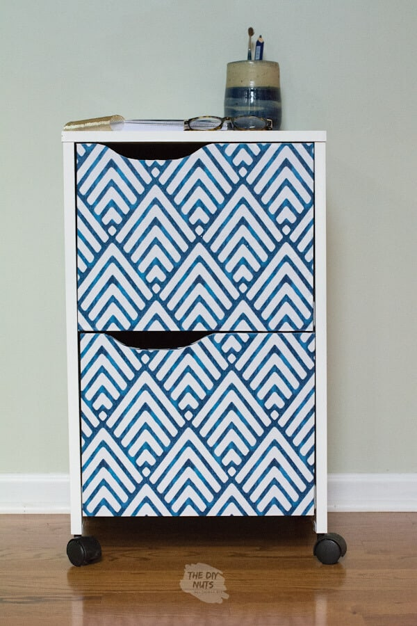 File cabinet madeover with contact paper and spray paint