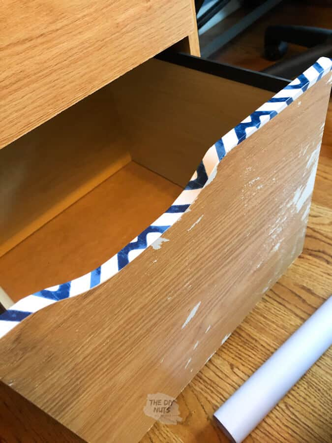 Redoing a compressed wood file cabinet with contact paper