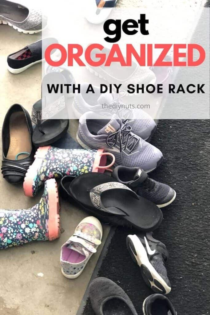 Unorganized shoes that need organized with a diy shoe rack