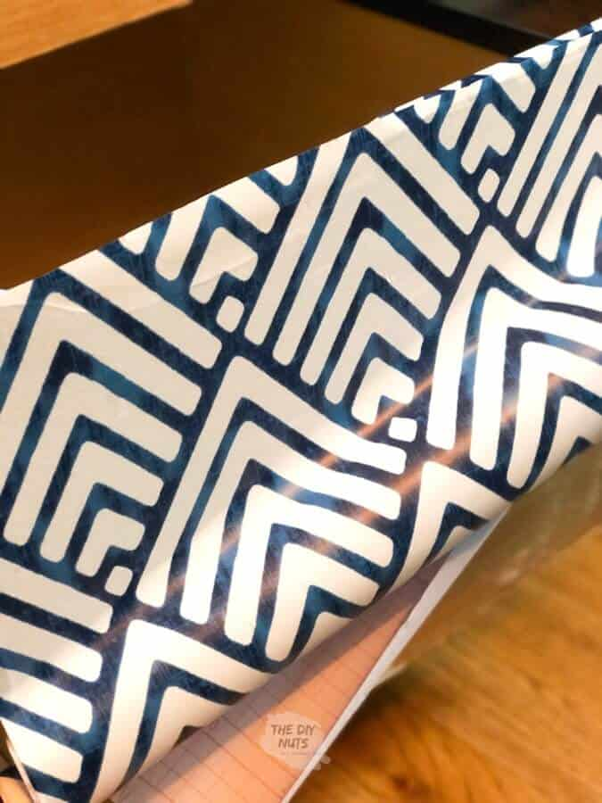 Geometric contact paper on file cabinet