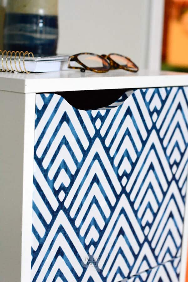 Blue geometric file cabinet