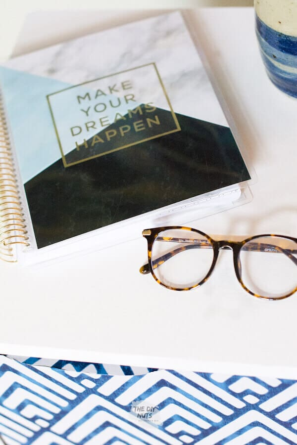 Notebook and glasses on DIY file cabinet