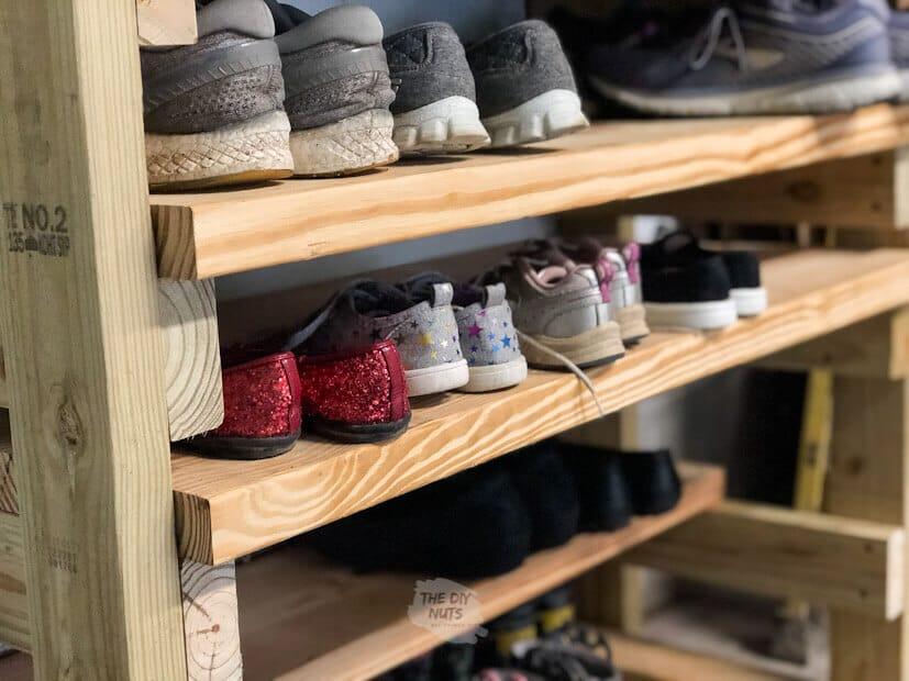 Garage wooden shoe rack