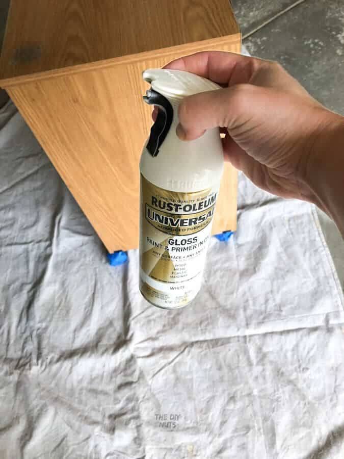 White spray paint used on file cabinet