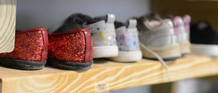 DIY wooden shoe rack with shoes