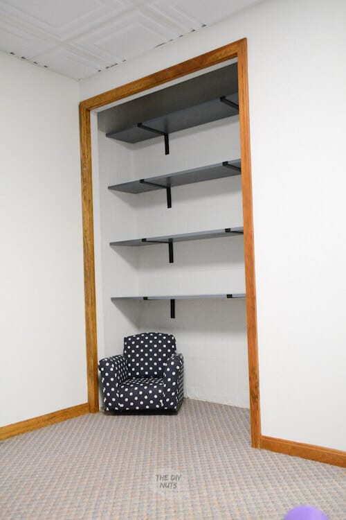 DIY closet basement shelves