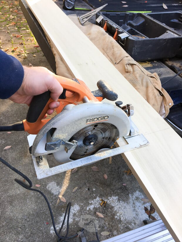 Circular saw cutting poplar