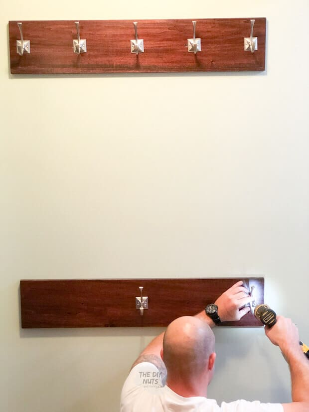 Adding hooks to the second DIY coat rack