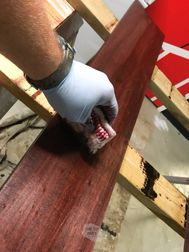 Wiping away minwax stain color red mahogany