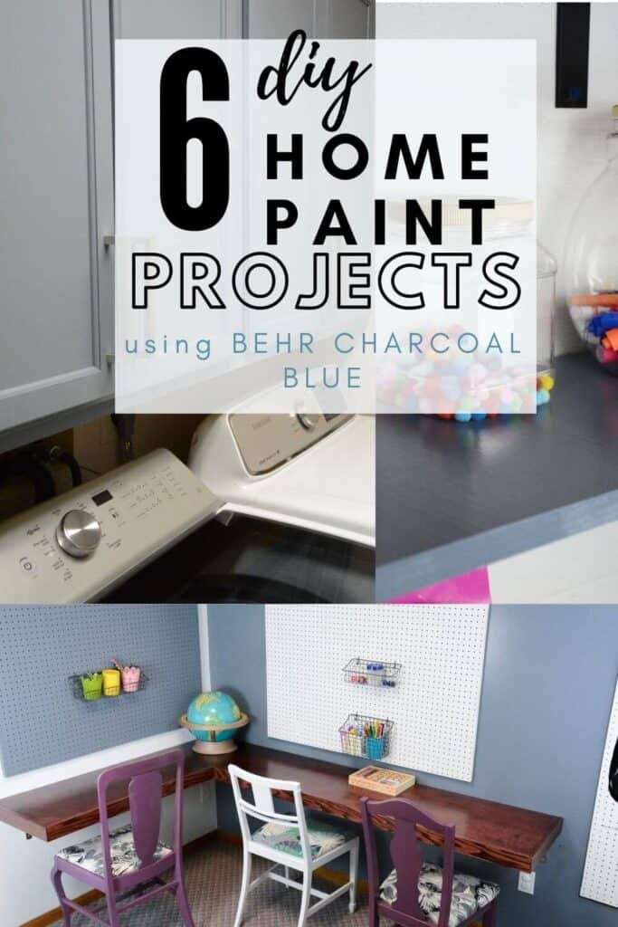 DIY Home paint projects using Behr Charcoal Blue Paint