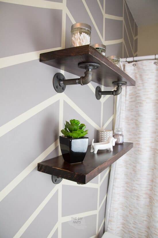 Side angle of pipe fitting shelves in bathroom