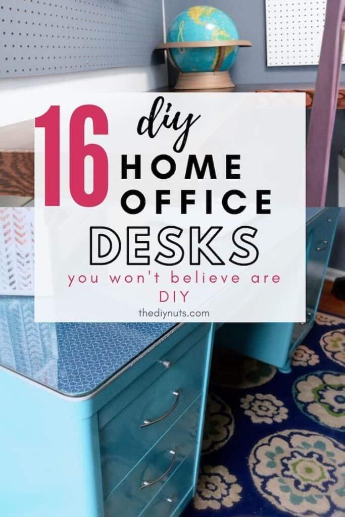 16 DIY home office desks with teal desk and wooden floating desk