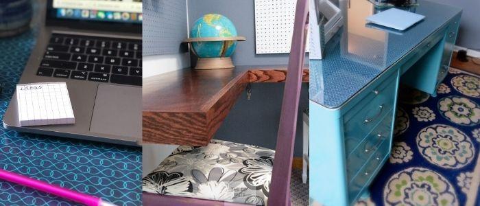 teal desk, diy floating desk and teal and blue desktop idea