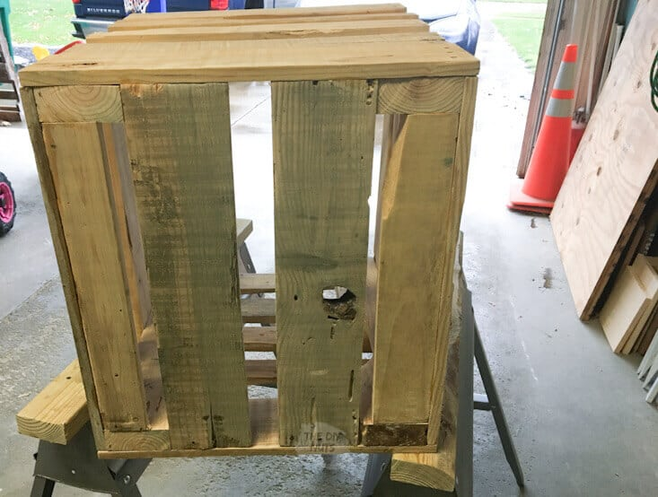 DIY crate made before stain