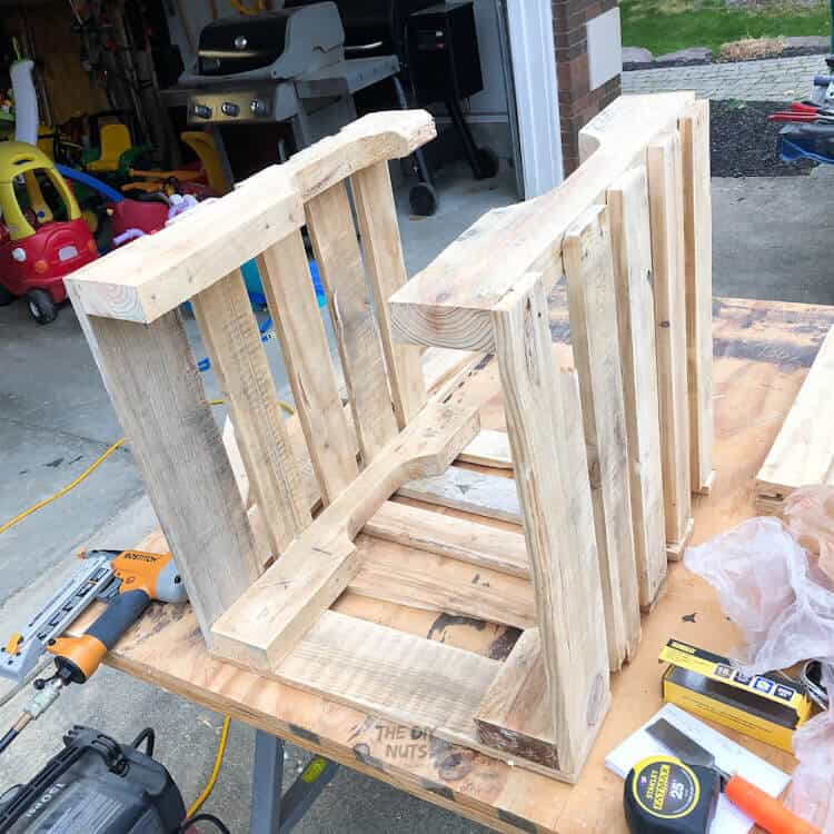 DIY crate being built