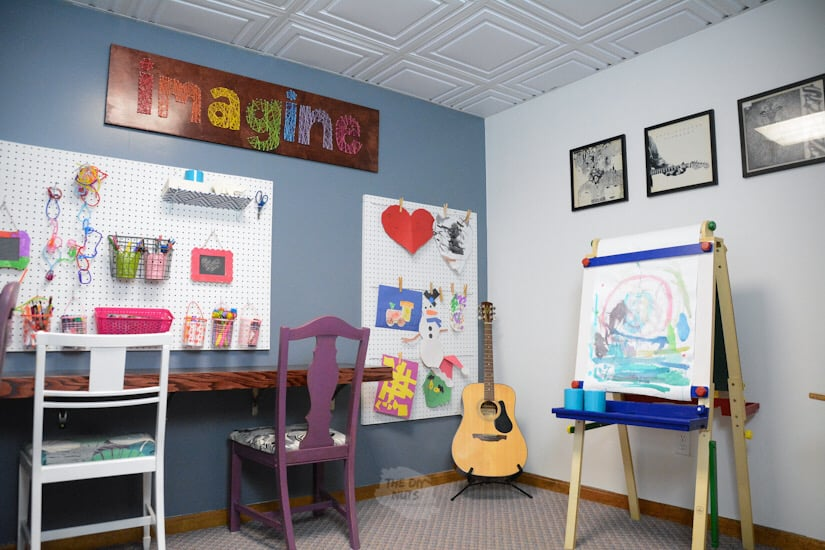 Homeschool room ideas with string art, floating desk and easel