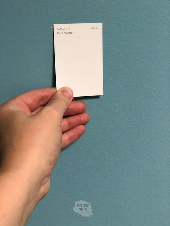 Sherwin Williams Pure White Paint Chip being held up on blue wall
