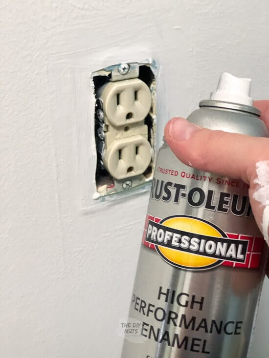 spray paint updating old almond outlets