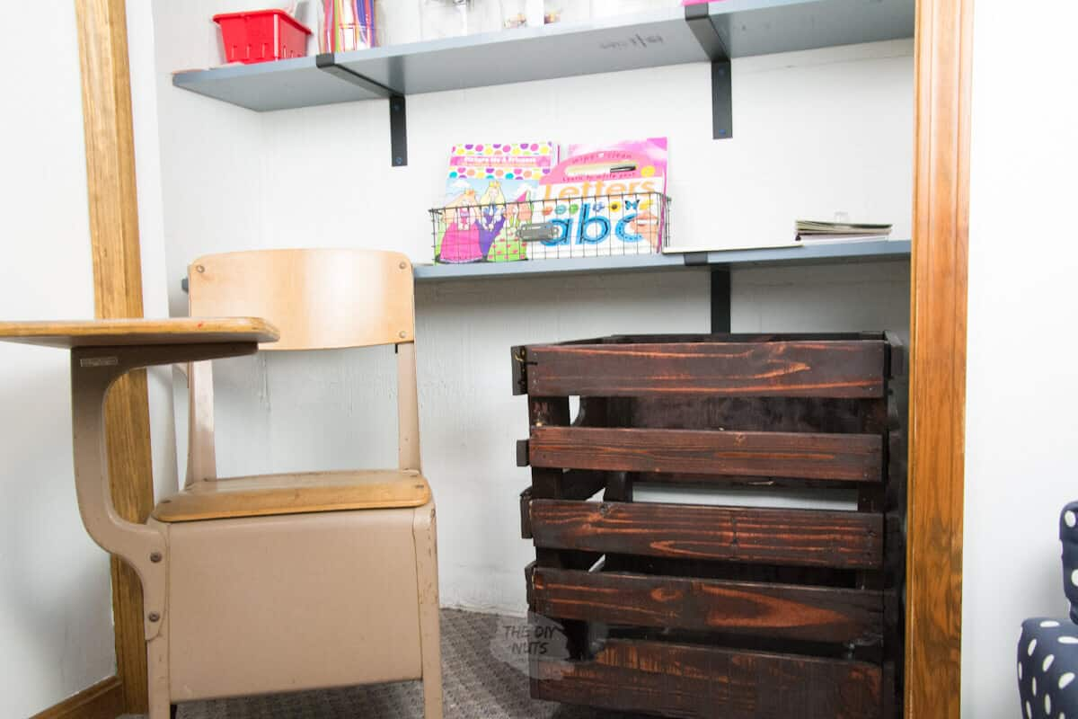DIY Stained wooded pallet crate in craft closet with small desk