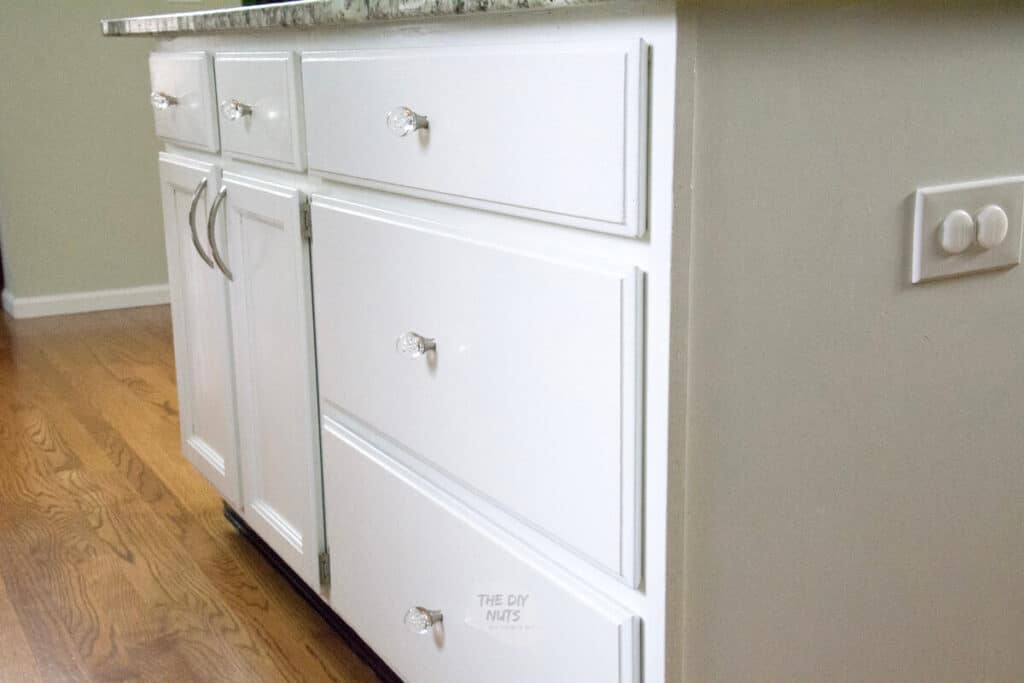 kitchen island painted white with latex enamel paint