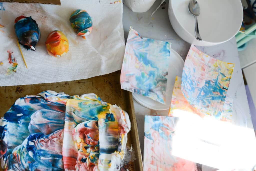 easter eggs & paper marbleized with food coloring