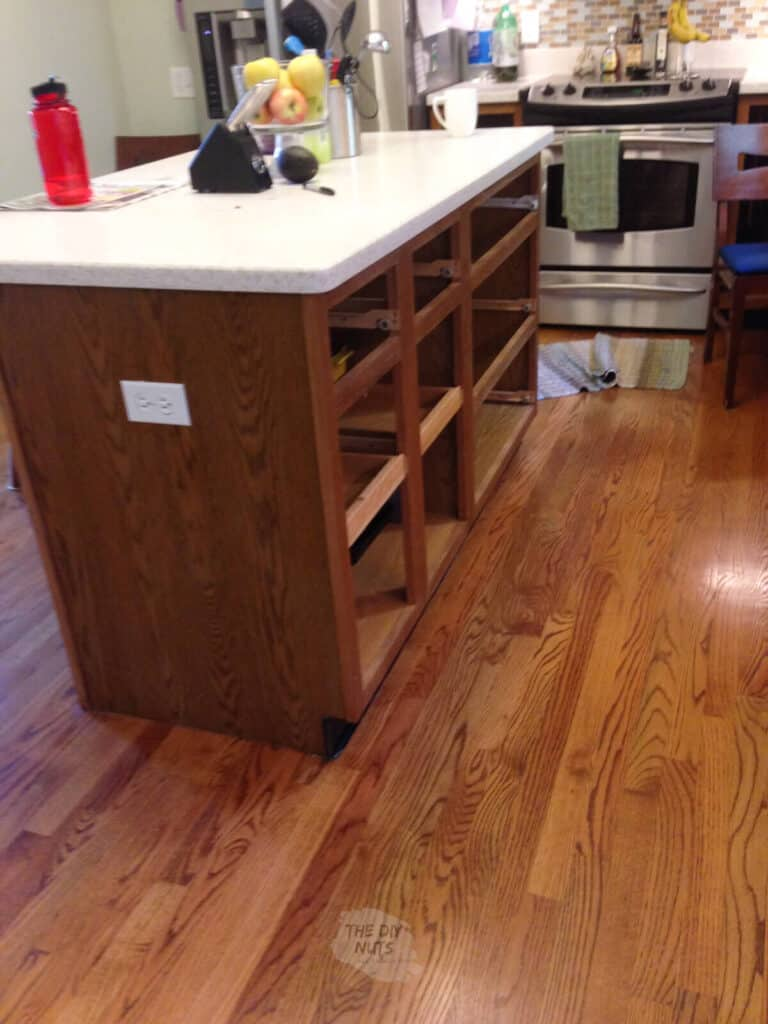 kitchen island with doors and drawers removed