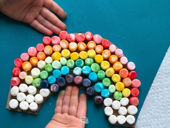 small hands with easy rainbow craft