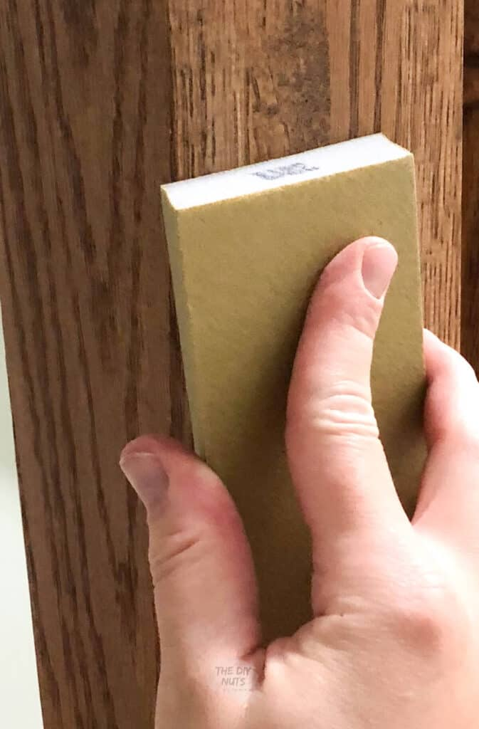sandpaper block used to prep oak cabinets before painting