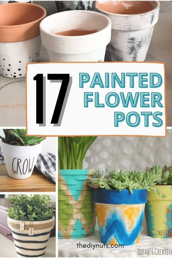 17 painted flower pots with painted terracotta pots