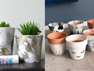 different painted terracotta flower pot painting ideas
