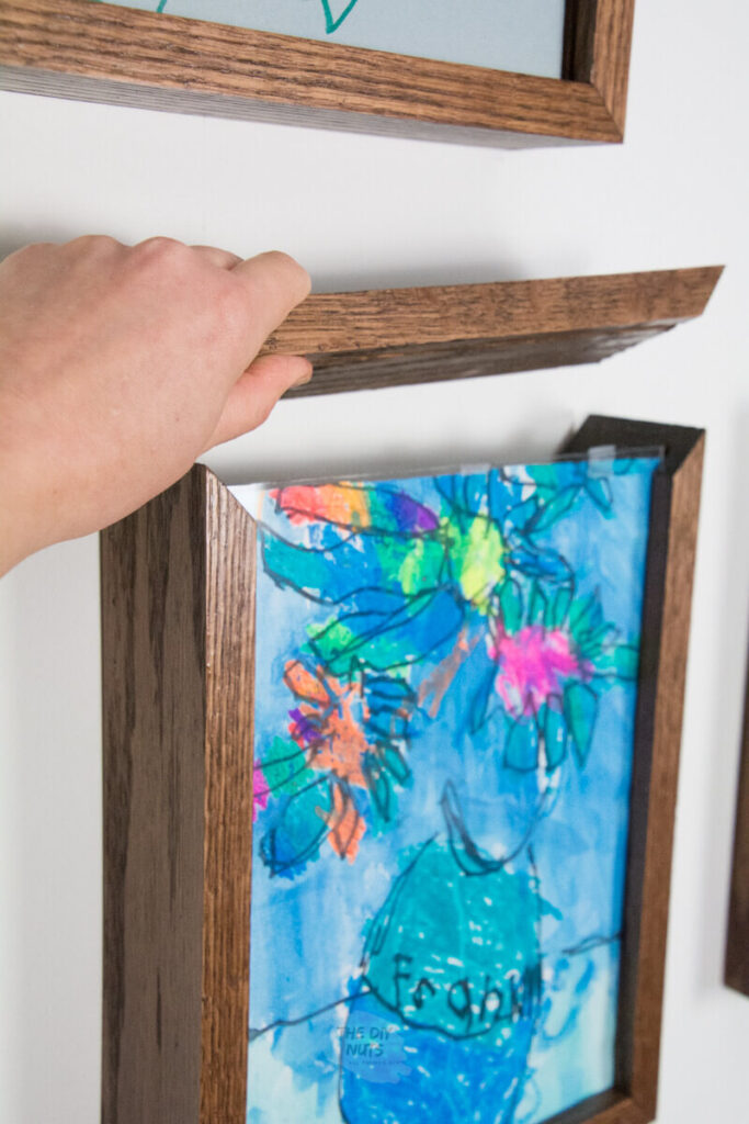 DIY shadow box with removable lid to easily change artwork