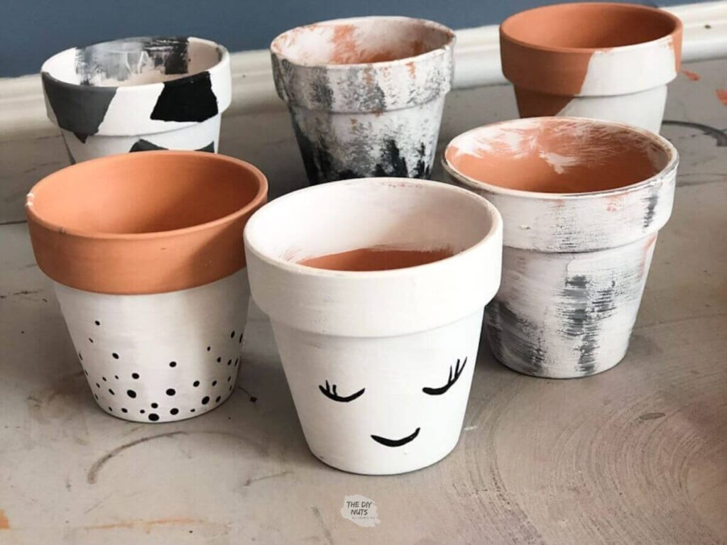 easy painted flower pot ideas black and white