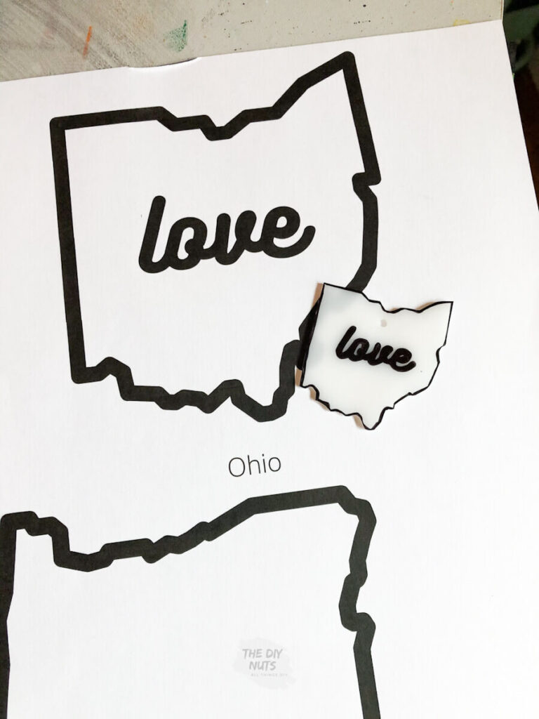 ohio shrinky dink next to paper template