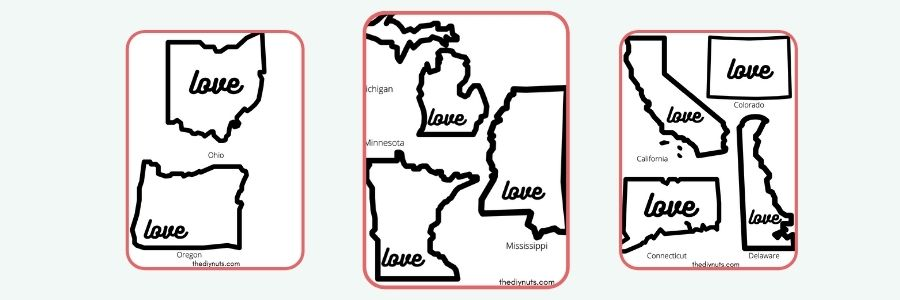 shrinky dink state template with outlines of state and love