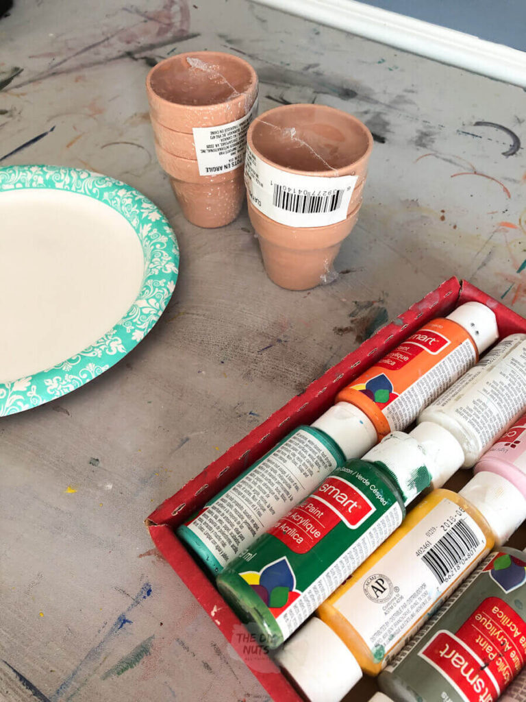 supplies used for painted flower pots