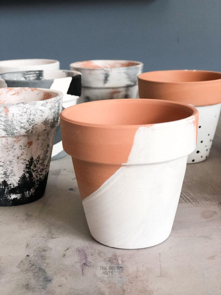 easy white painted flower pot